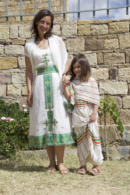 Juliane and Sóley in traditional Ethiopian clothes