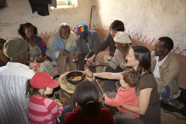 Mountain Village Ethiopia eating Tihlo