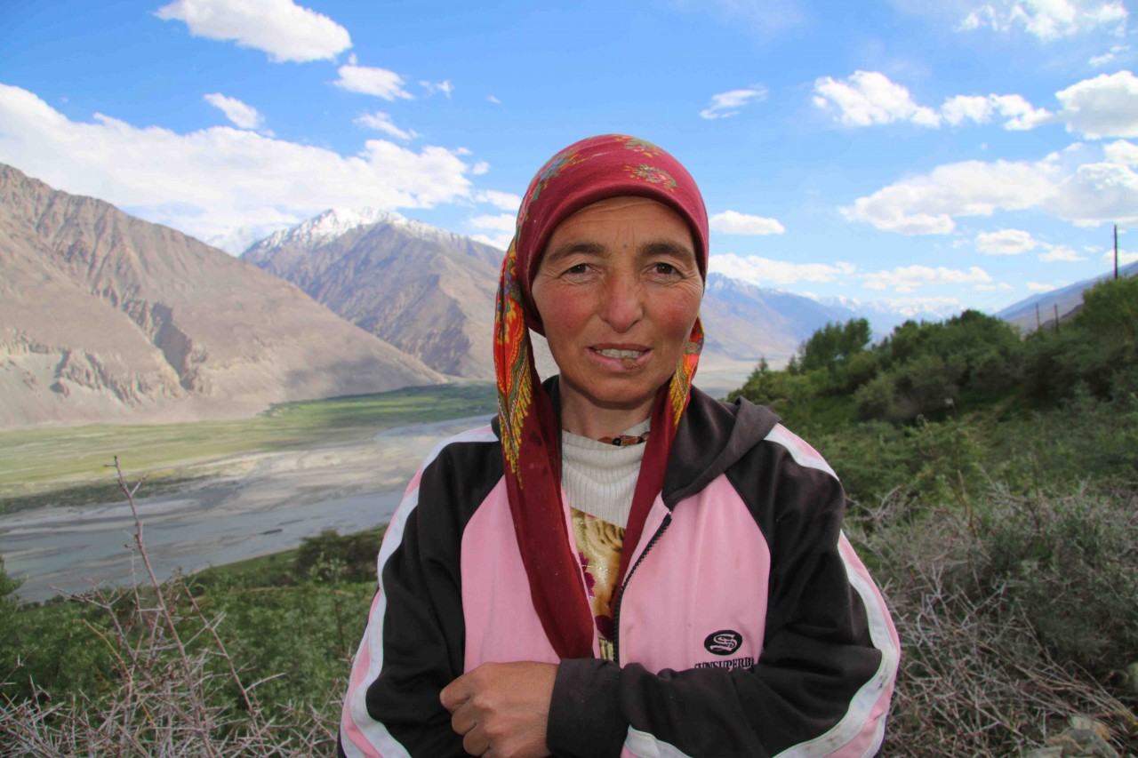 A Pamiri lady outside her house in the Wakhan Corridor