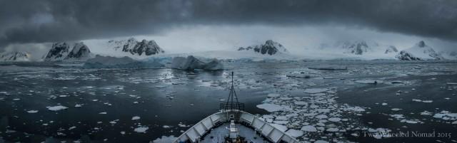 Sea-ice choked waters under broody skies