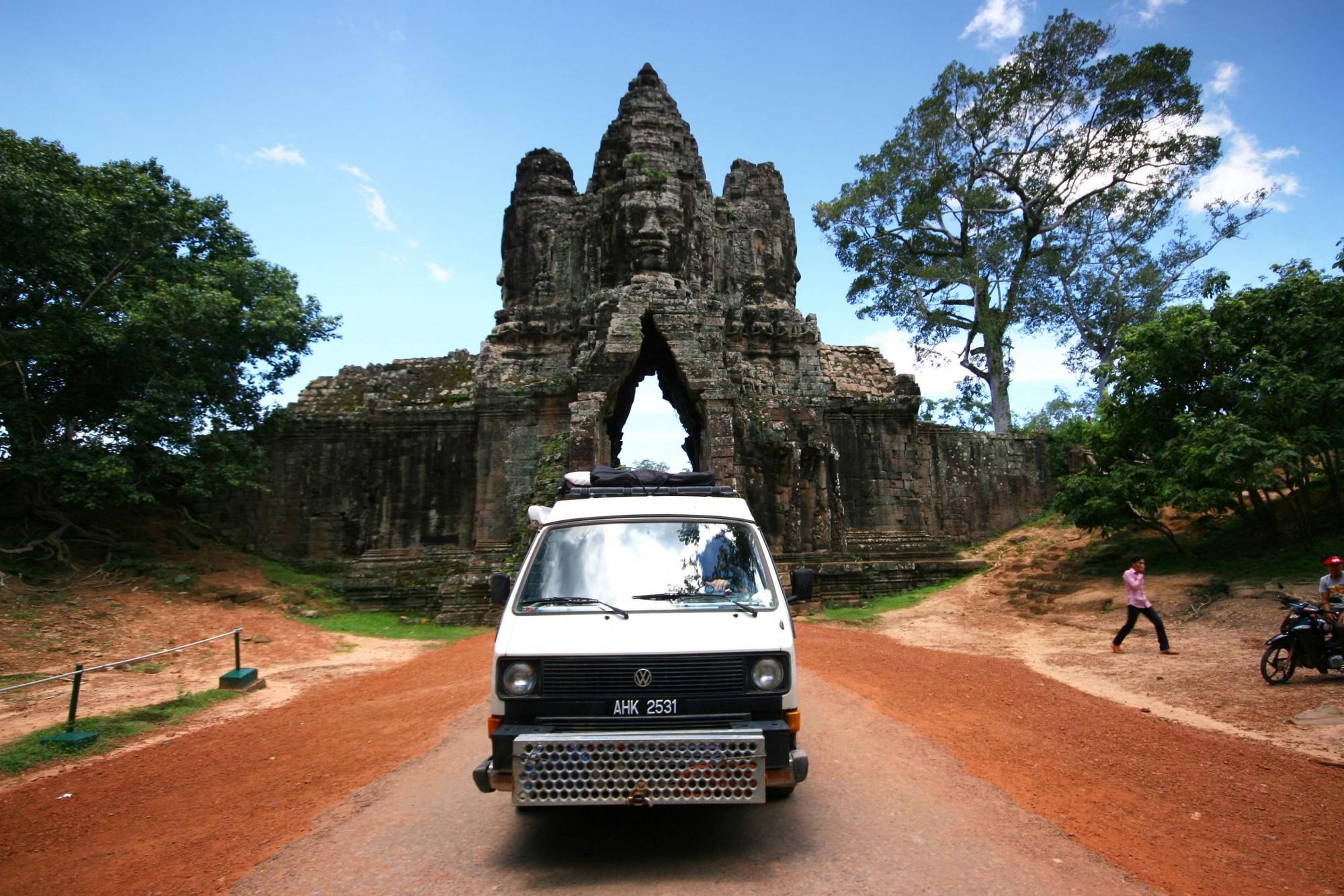 Arriving at Angkor Wat in Cambodia