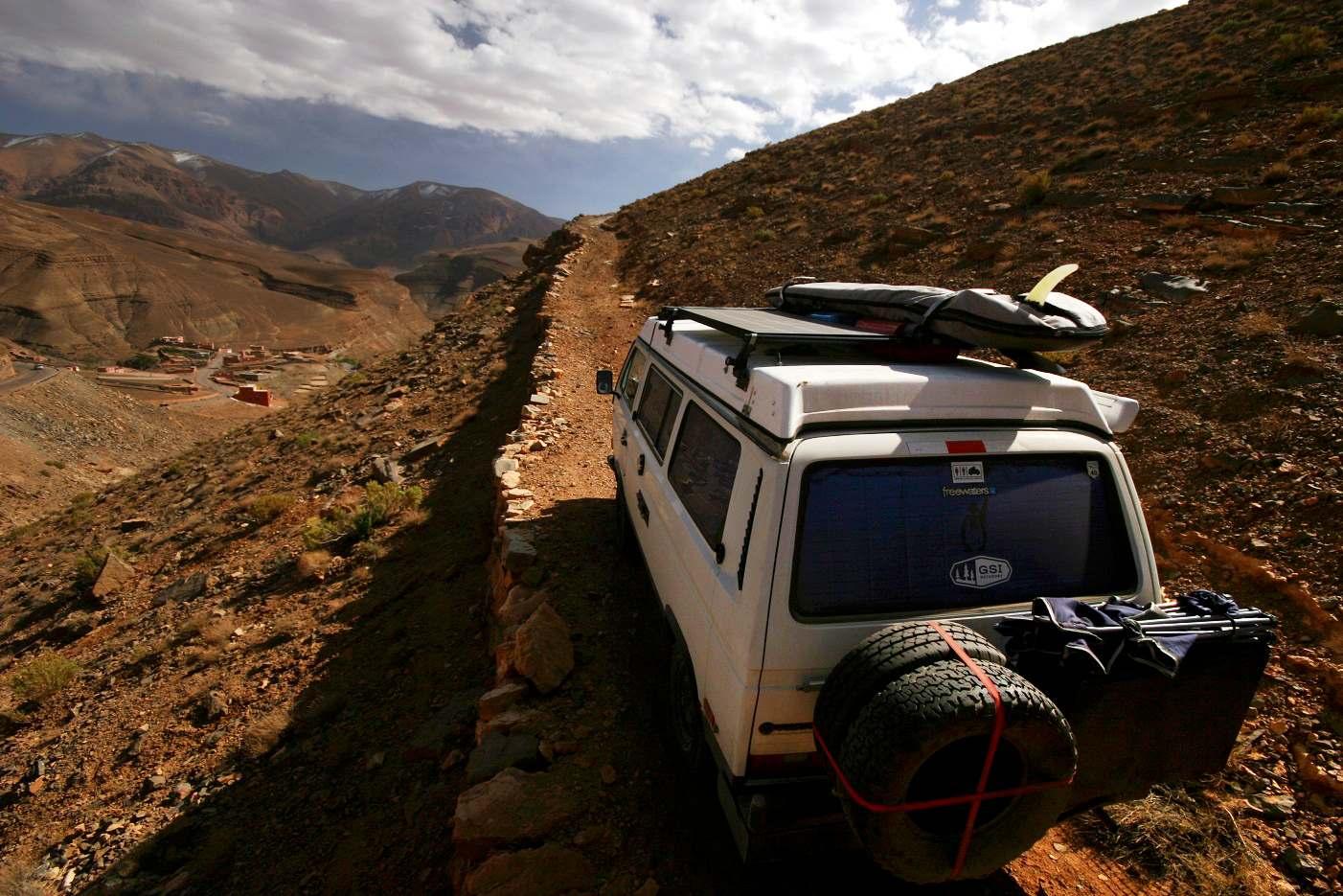 Climbing into the Atlas Mountains in Morocco