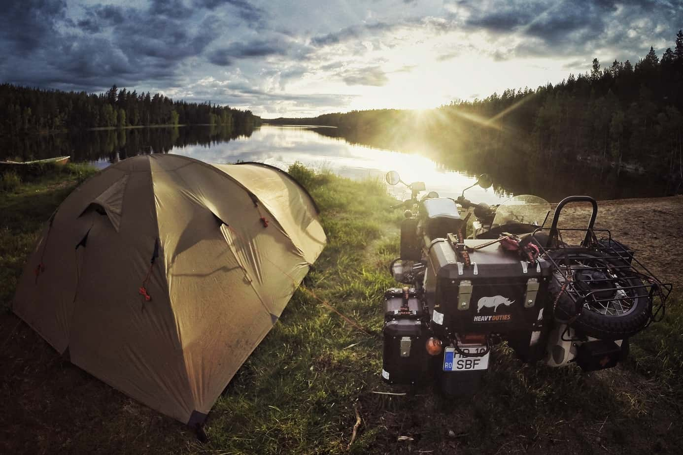 Wild camping in Finland.