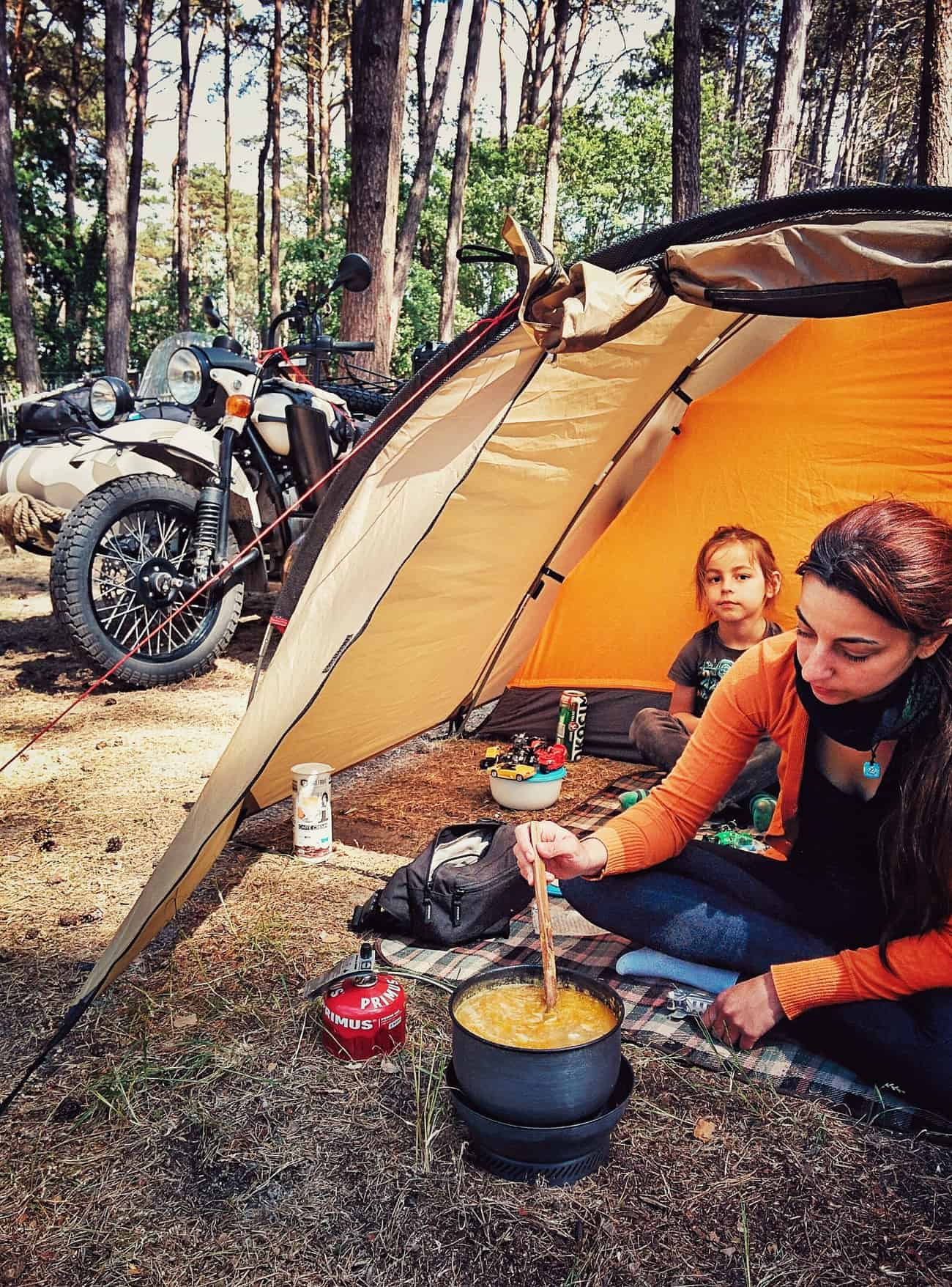 Camping and cooking in Poland.