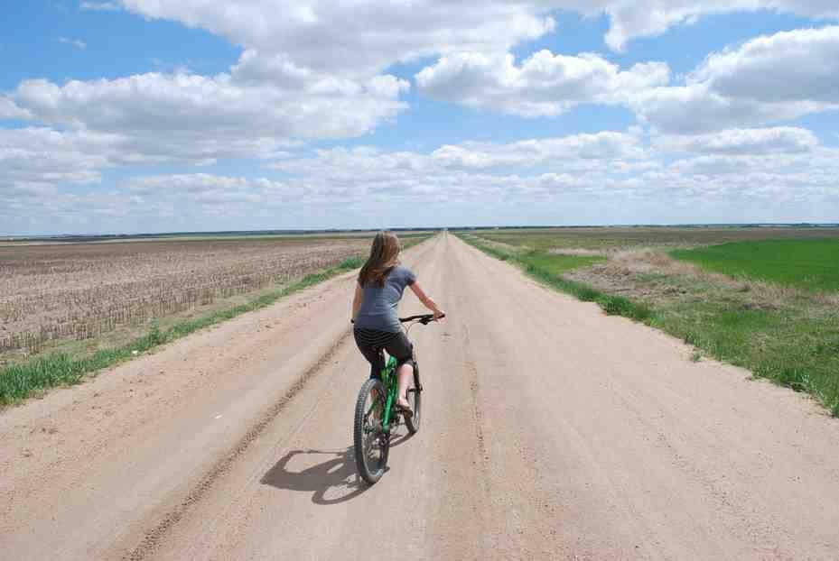 biking on dirt road