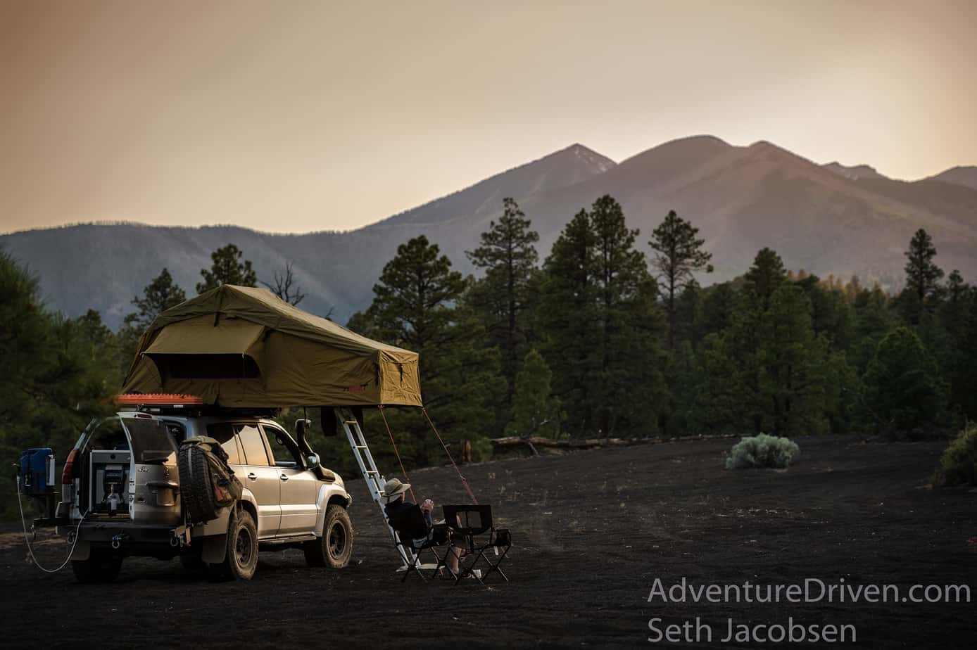 Adventure Driven tent peaks sunset-1