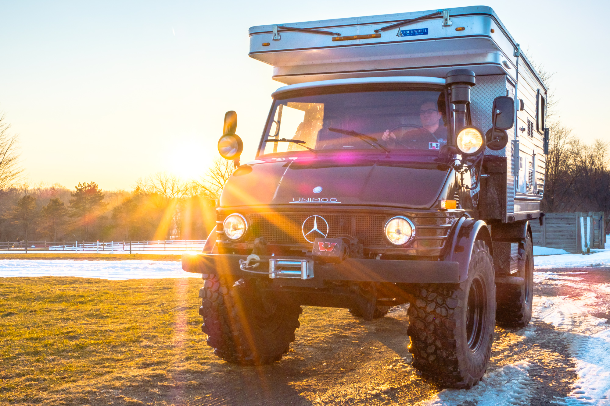 Unimog Off Road Mercedes in the glare of the sun