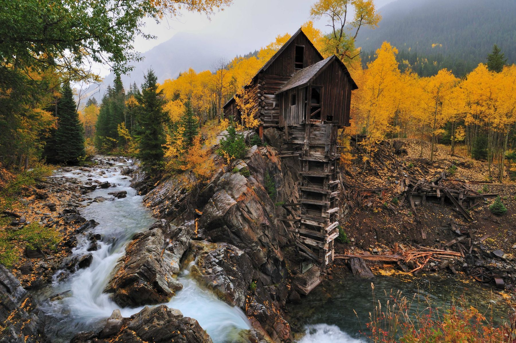 The Crystal Mill with fall colors