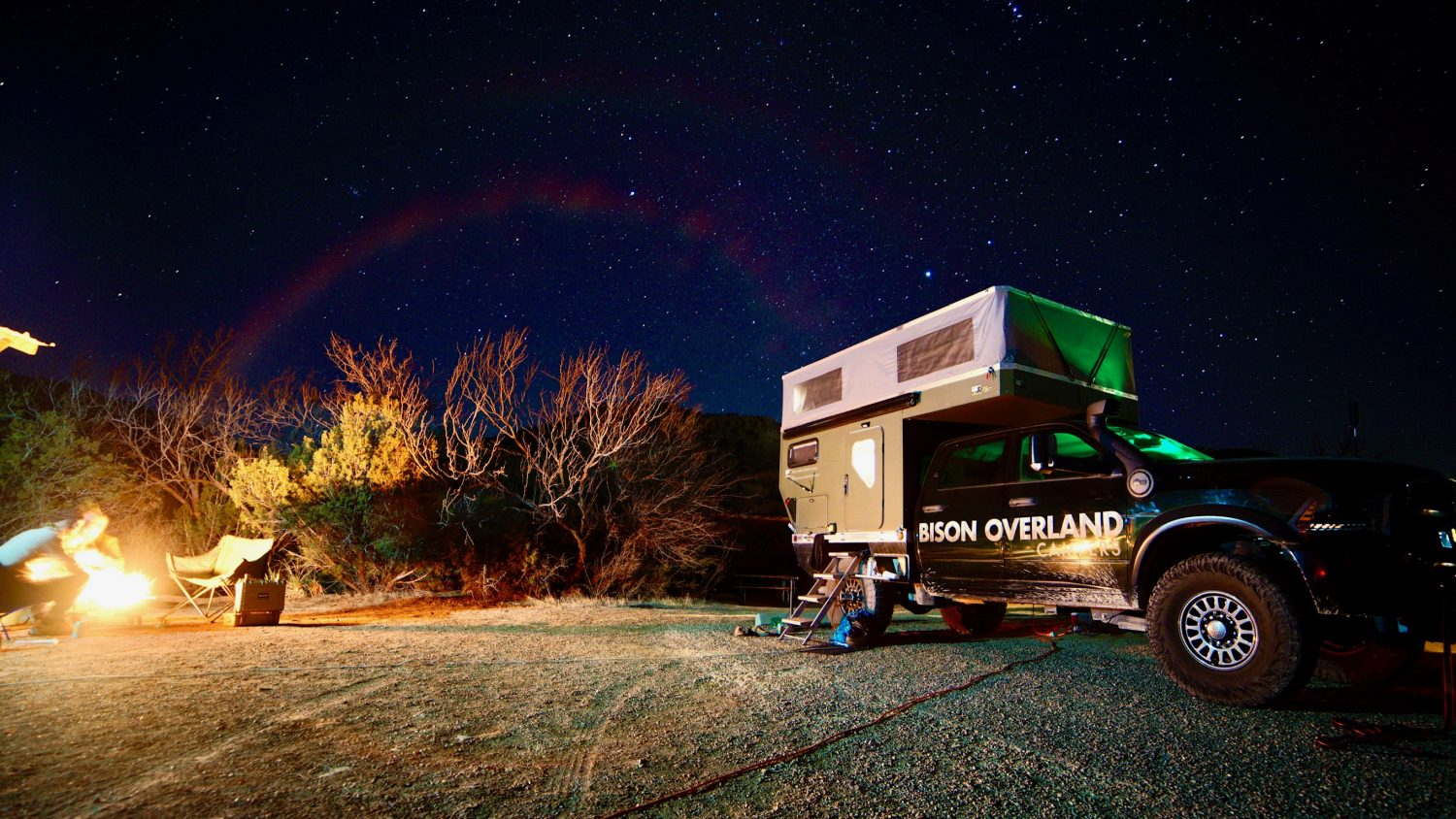 bison overland space wrangler at night