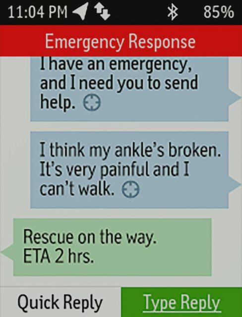 SOS message using in reach explorer SOS button