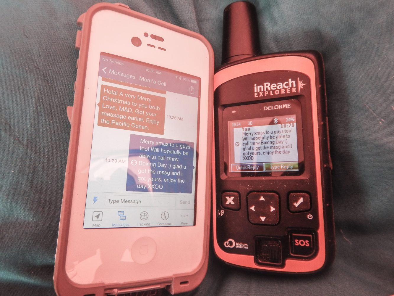 sending messages via the Earthmate App on a smartphone