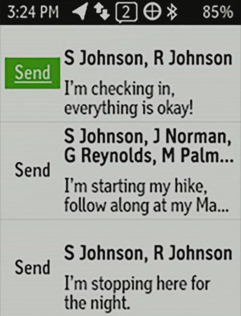 pre-set messages in reach garmin