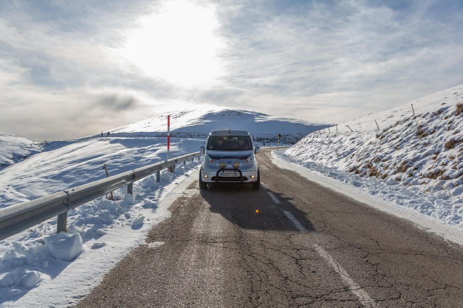 the new nissan winter concept campervan on the road