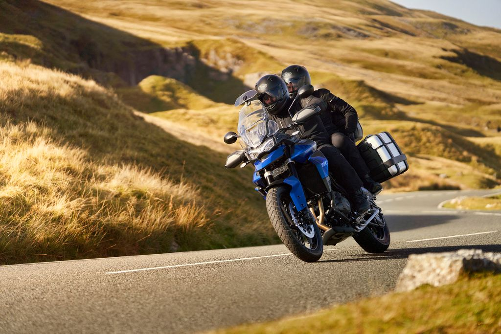 two-up pillion on tiger triumph 850