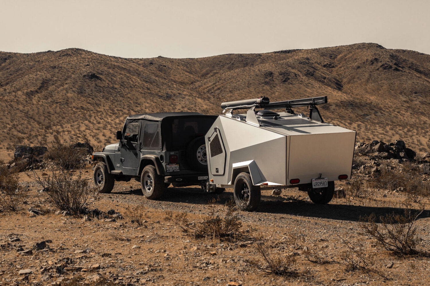 Polydrop P17A Travel trailer on a jeep