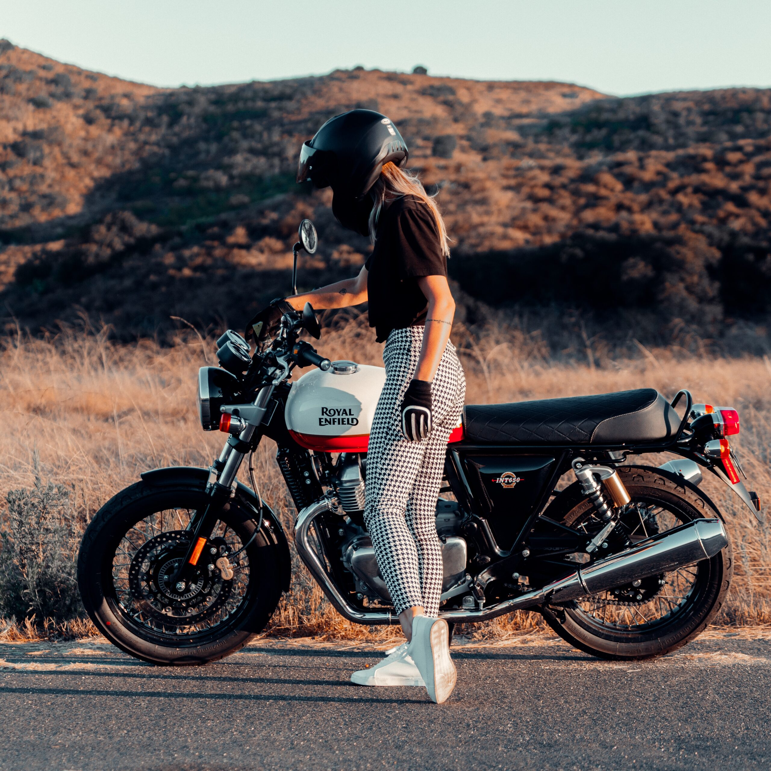 motorcycle rider with gloves