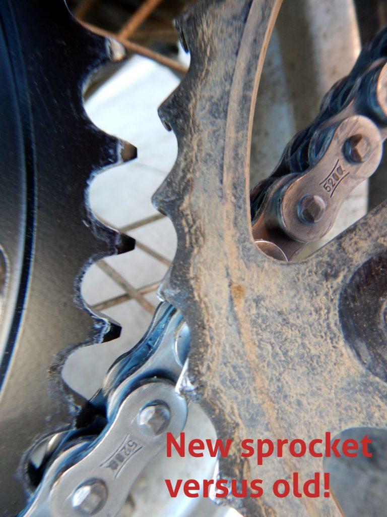 old motorcycle sprockets versus new