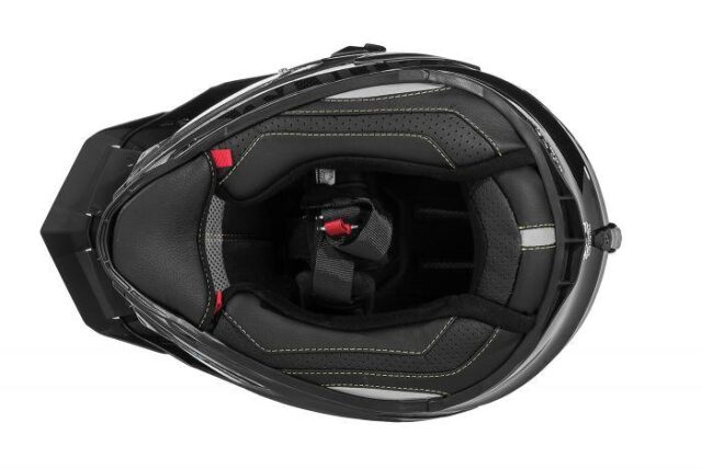 touratech's aventuro carbon 2 helmet underside with leather lining