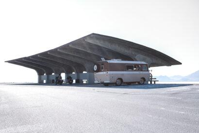 Bonneville salt flats highway stop