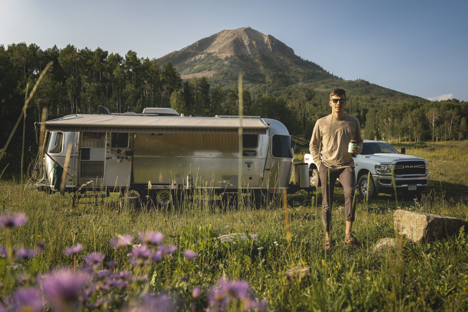 airstream and mountains