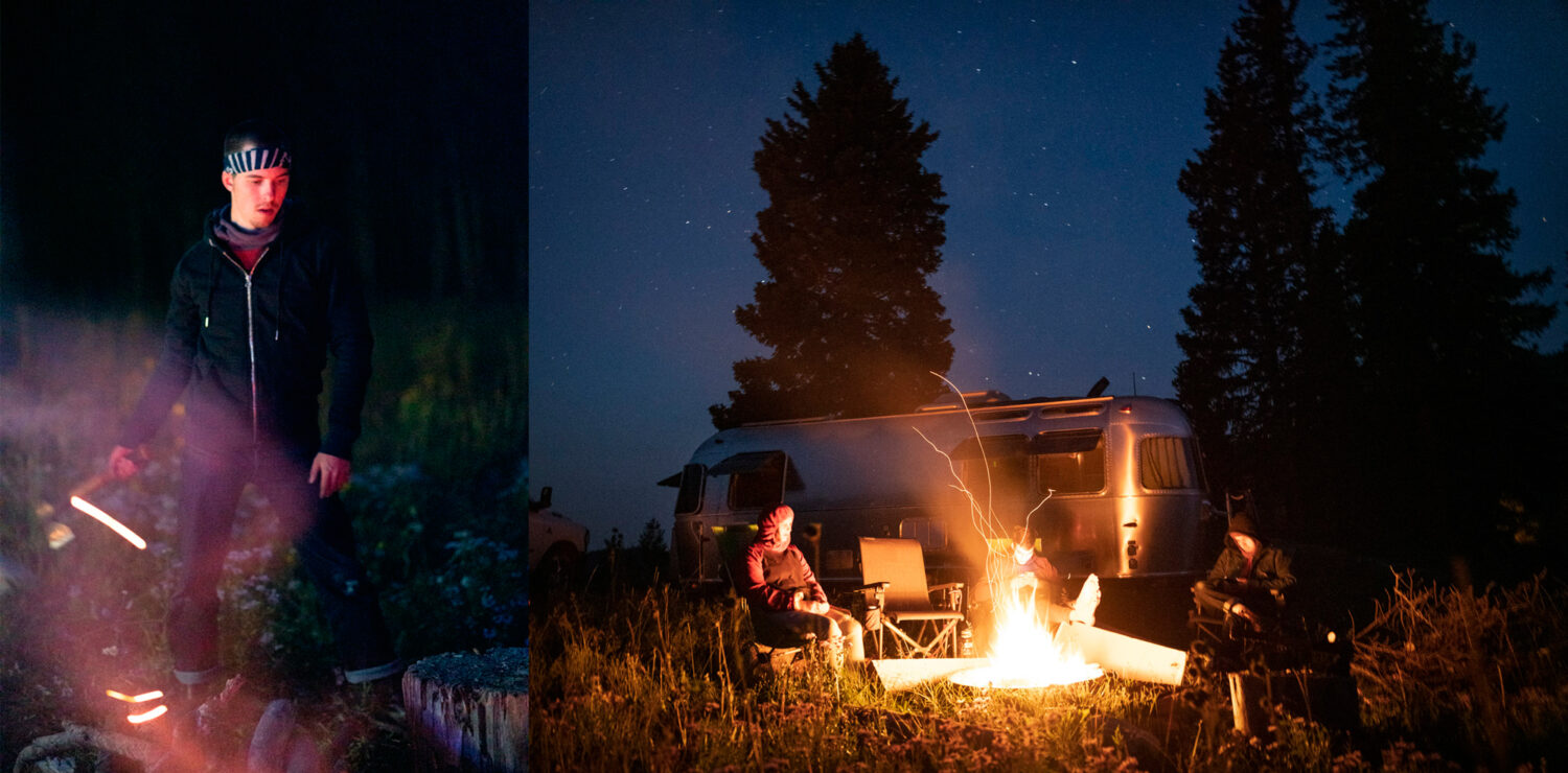 night time views and the airstream trailer